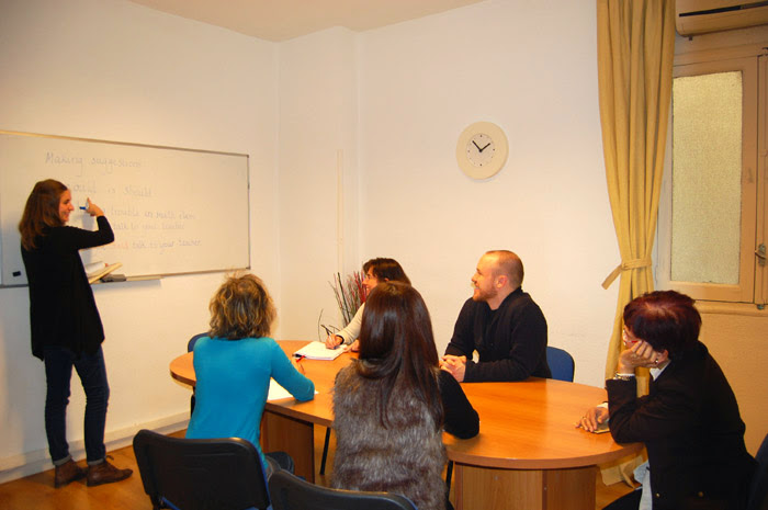 Teaching TEFL in a classroom